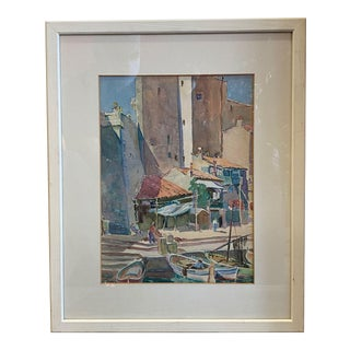 1940s Lester Roesner Watercolor Marseille Harbor For Sale