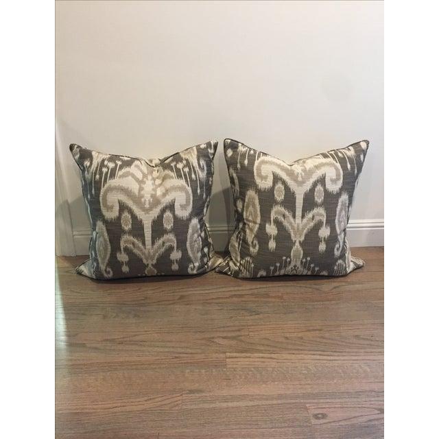 Crate & Barrel Gray Linen Ikat Pillows - A Pair - Image 2 of 3