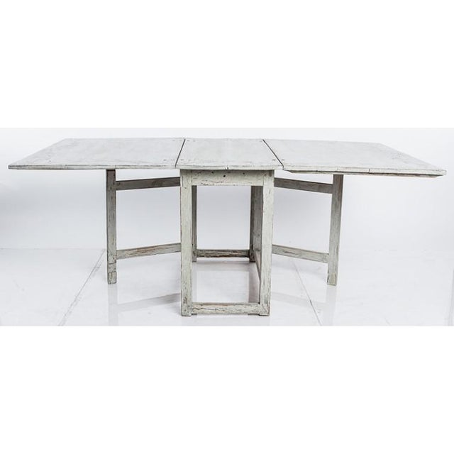 Mid 19th Century Antique White Swedish Country Dining Table With Painted Botanical Motif For Sale - Image 5 of 6