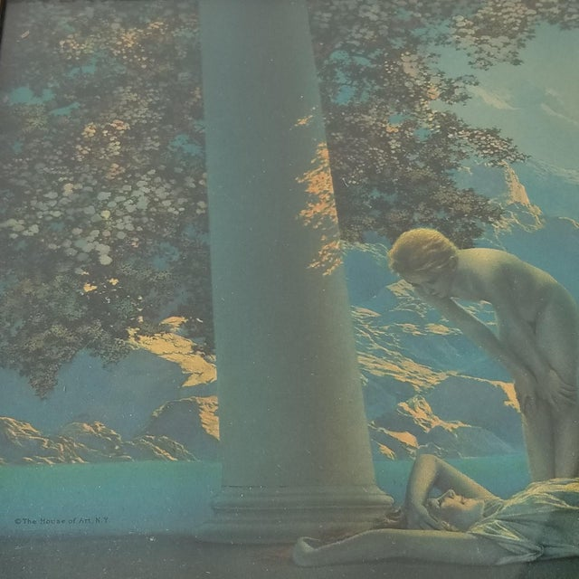 "1920s ""Daybreak"" Art Deco Figurative Lithograph After Maxfield Parrish, Framed For Sale - Image 4 of 9"