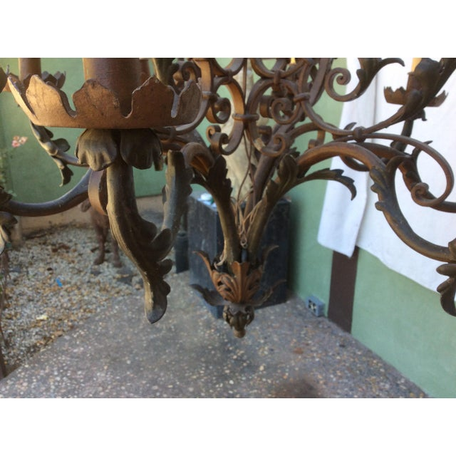Antique Scrolling Iron Chandelier For Sale - Image 9 of 11