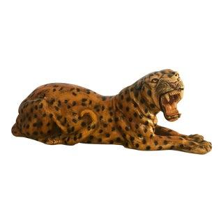 Vintage Large Fiber Cheetah Sculpture Mid Century For Sale