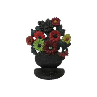 Antique Hubley Floral Cast Iron Doorstop For Sale