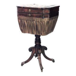 19th Century English Regency Mahogany and Inlaid Brass Game Table For Sale