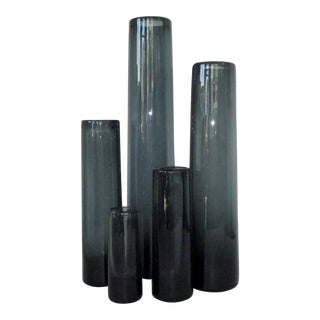 Vintage Holmegaard Glass Vases, Set of 5 For Sale