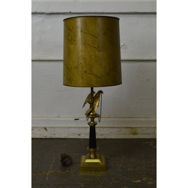 1970s Stiffel Vintage Federal Style Brass American Eagle Table Lamp For Sale - Image 5 of 12