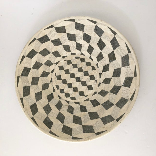 Vintage tessellated stone platter. Grey checkerboard optical illusion pattern. Adds graphic punch to your table while...