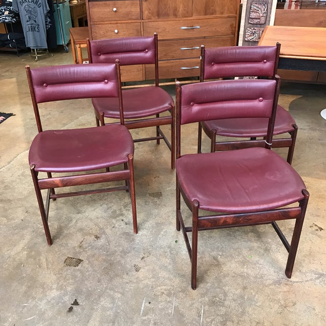Solid Rosewood Danish Dining Chairs - Set of 4 - Image 2 of 7