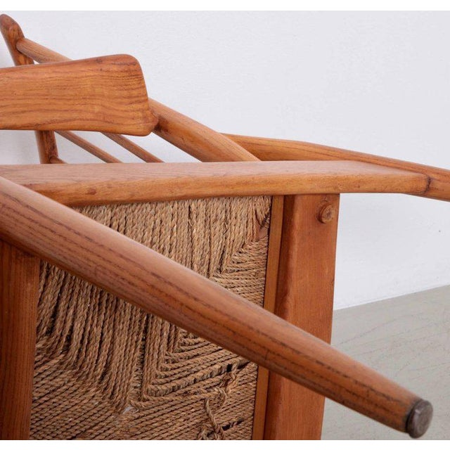 Wood Pair of German Studio Lounge Chairs in Ash and Papercord For Sale - Image 7 of 8