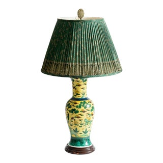 Japanese Kutani Porcelain Vase Table Lamp With Custom Shade, C. 1940 For Sale