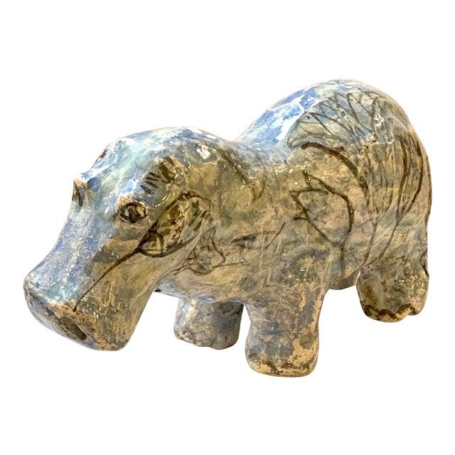 "Vintage Mid-Century ""William the Faience Hippopotamus"" Figurine For Sale"