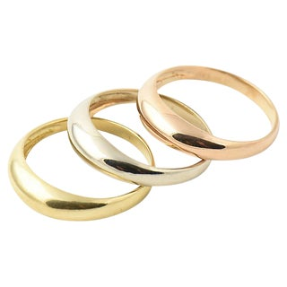 Tri-Color 18k Gold Stacking Rings For Sale