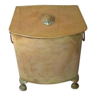 Antique Brass Coal Hod Scuttle Box For Sale