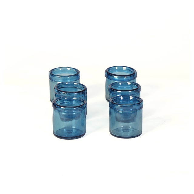Hand-Blown Blue Glass Votive Holders - Set of 6 - Image 2 of 5