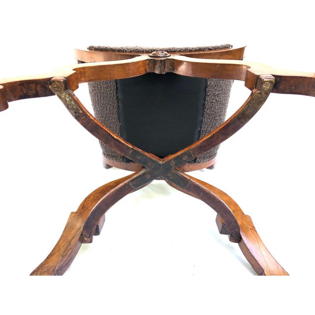 20th Century Italian Cross Base Neoclassical Wood Armchair For Sale - Image 10 of 11