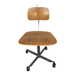 Vintage Mid Century Modern Danish Teak Kevi Adjustable Office Work Chair For Sale