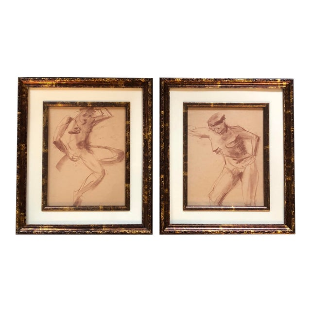 Vintage Original Female Nude Sepia Study Drawings a Pair For Sale