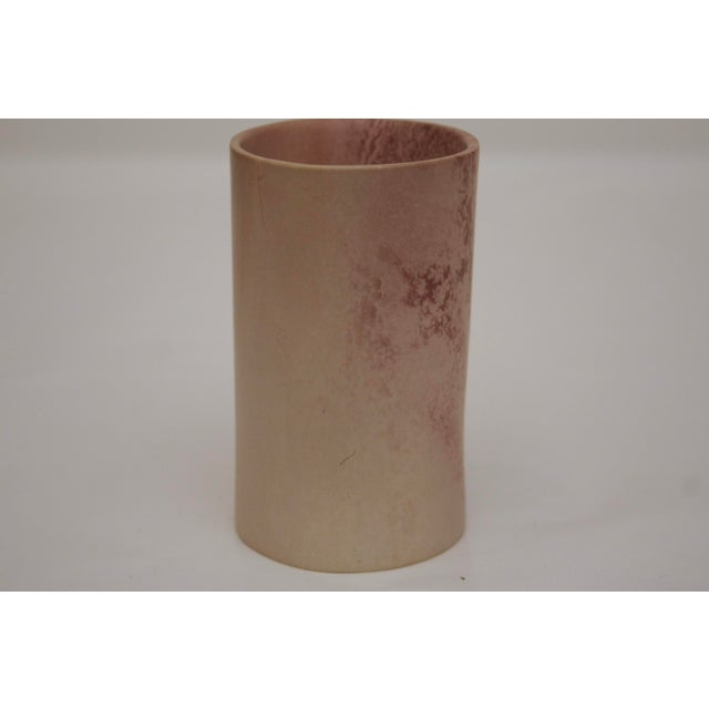 Pink Minimalist Carved Marble Vase / Pencil Cup For Sale - Image 8 of 13