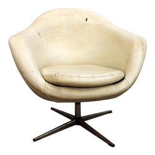 Mid-Century Danish Modern Overman Chrome Swivel Pod Chair