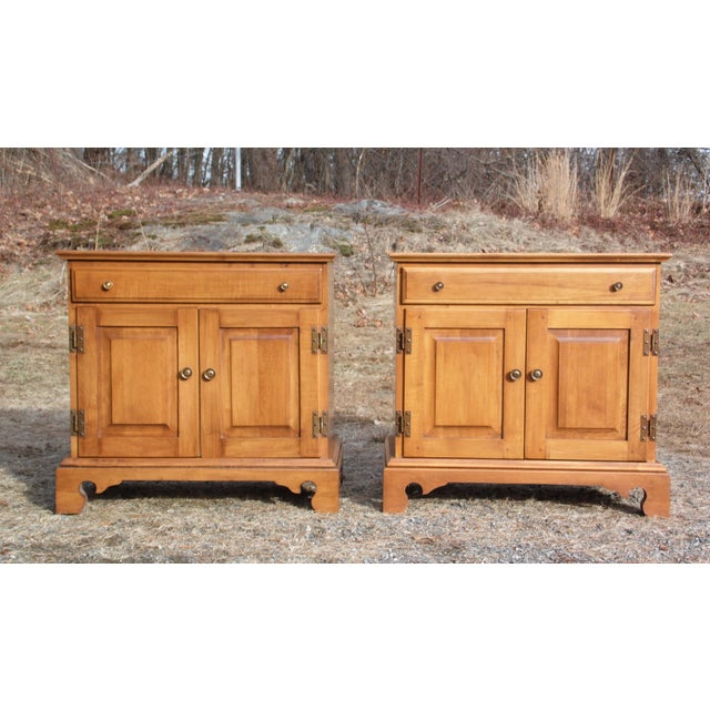 Brown Pair Beal's Solid Rock Maple Nightstands Bedside Cabinets End Tables Record Cabinet For Sale - Image 8 of 13
