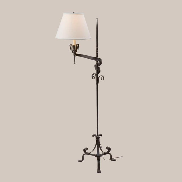 1990s Paul Ferrante Spanish Colonial Wrought Iron Floor Lamp For Sale - Image 5 of 5