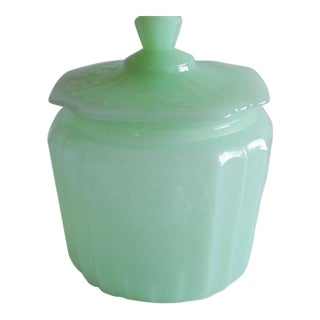 """Mid 20th Century Green """"Milk Glass"""" Candy Jar For Sale"""