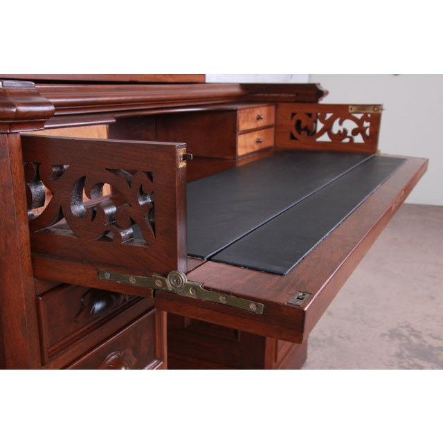 Black Antique Victorian Carved Flame Mahogany Chicago Railroad Desk, Circa 1850 For Sale - Image 8 of 13