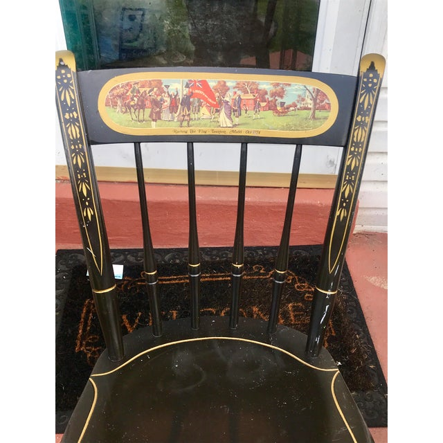 Americana Nichols and Stone Co. Painted Wood Historic Chair For Sale - Image 3 of 9