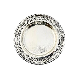 1950s Silver Chased & Reticulated Tray For Sale