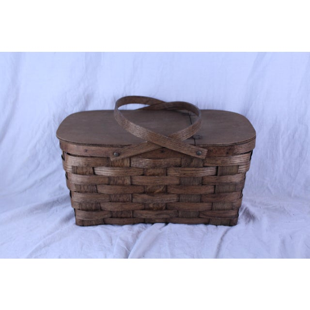 Cottage Early 20th Century Antique Picnic Basket For Sale - Image 3 of 6