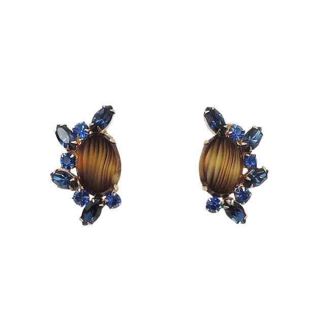 1960s Hattie Carnegie Striped Rhinestone Earrings For Sale