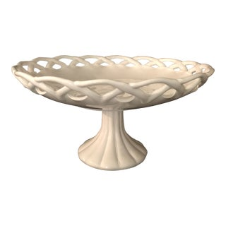 1960s Pitman Dreitzer Milk Glass Lace Edge Cake Stand For Sale