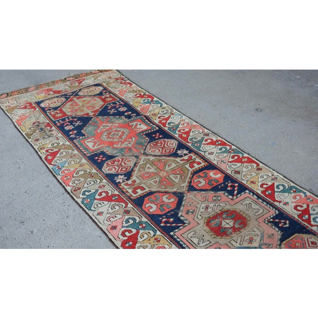Boho Chic Antique Distressed Caucasian Skinny Runner For Sale - Image 3 of 11