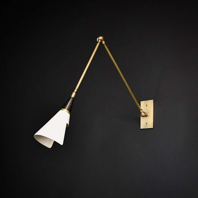 Blueprint Lighting Magari Adjustable Wall Lamp in Black, White and Brass by Blueprint Lighting For Sale - Image 4 of 10