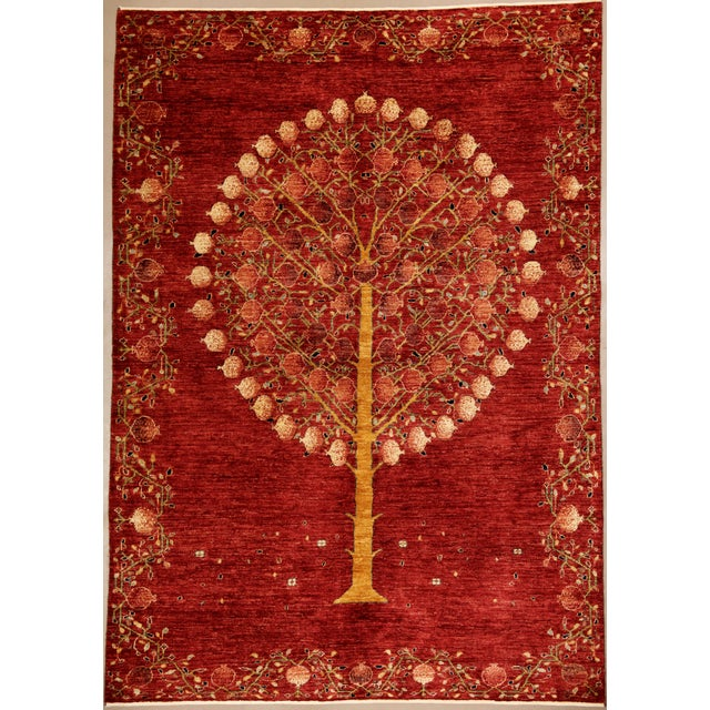 "Pomegranate Tree Wool Rug - 5'6"" X 7'10"" For Sale - Image 4 of 4"