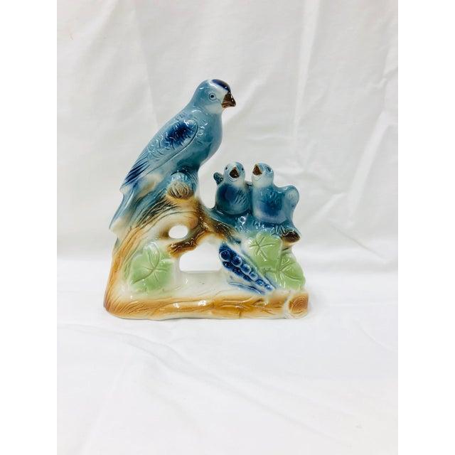 Ceramic Mid Century Blue Bird Family Figurine For Sale - Image 7 of 7