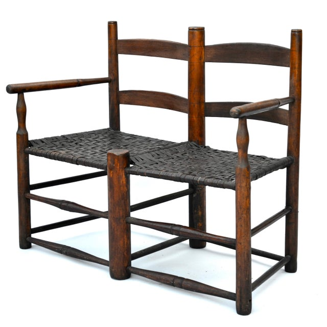 Primitive Antique American Hickory Primitive Settee For Sale - Image 3 of 5