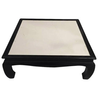 French Art Deco Black Lacquered Parchment Coffee Table For Sale