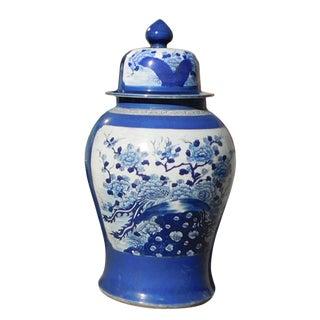 Chinese Handmade Blue & White Porcelain Flower Bird Large Temple Jar For Sale