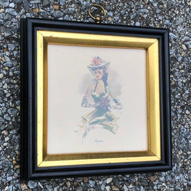Art Nouveau Vintage Hollywood Regency Southern Belles Lady Framed Picture Prints - A Pair For Sale - Image 3 of 8