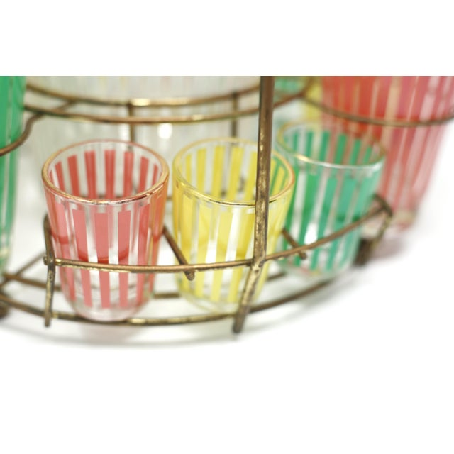 Brass Vintage MCM Pastel Stripes Cocktail and Shot Glasses Barware With Ice Bucket and Brass Caddy - Set of 14 For Sale - Image 7 of 13