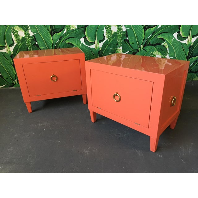 1970s Pair of Hollywood Regency Lacquered Nightstands For Sale - Image 5 of 6