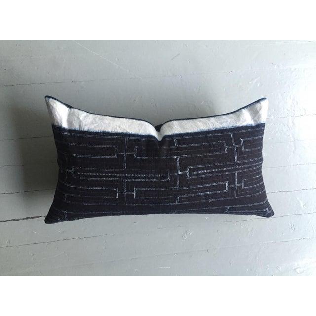 Rustic Indigo Stripe Hmong Lumbar Pillow Cover - Image 3 of 8