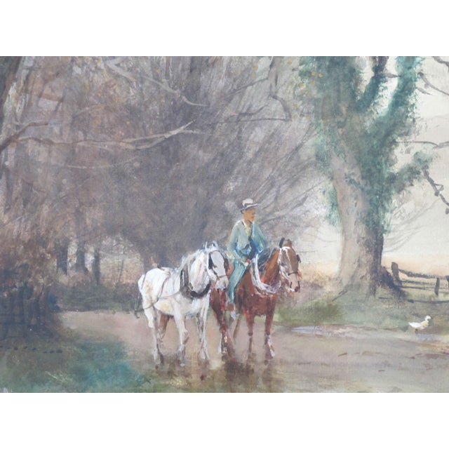 Antique English Landscape Equestrian Watercolor Painting by Charles Henry Fox For Sale In Portland, OR - Image 6 of 10