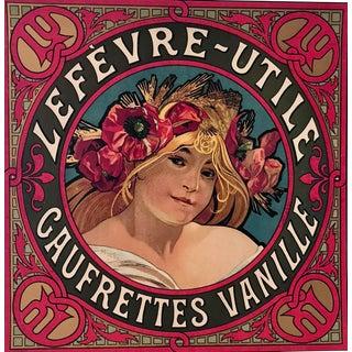 Original Alphons Mucha Lefevre-Utile Biscuit Label, Original, C.1900 For Sale