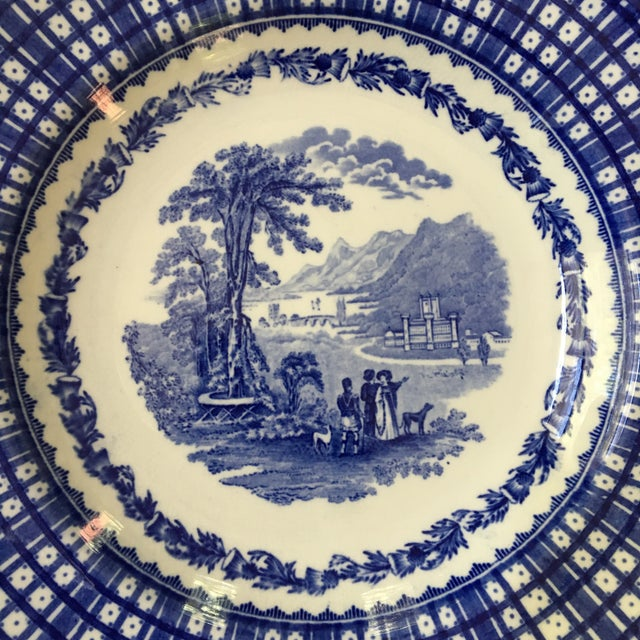 English Antique Blue Rimmed Bowls in Breadalbane Pattern - Made in Cauldon, England - Set of Three For Sale - Image 3 of 12