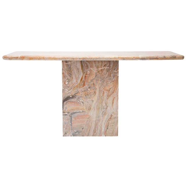 Variegated Marble Console Table For Sale