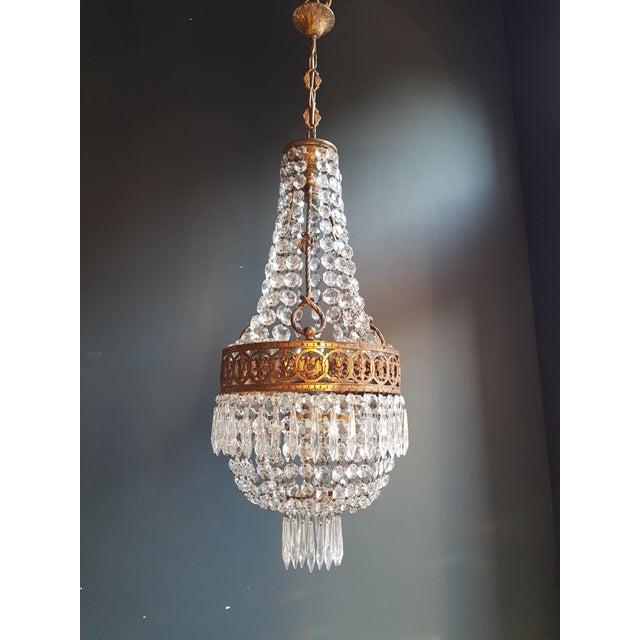 Art Nouveau Basket Chandelier Brass Empire Crystal Lustre Ceiling Lamp Antique Art Nouveau For Sale - Image 3 of 12