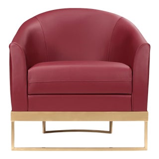 Modern Red Leather Club Chair For Sale