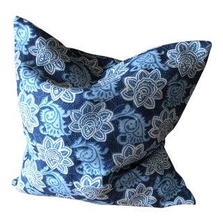 Tyler Hall Linen Blue & White Pillow For Sale